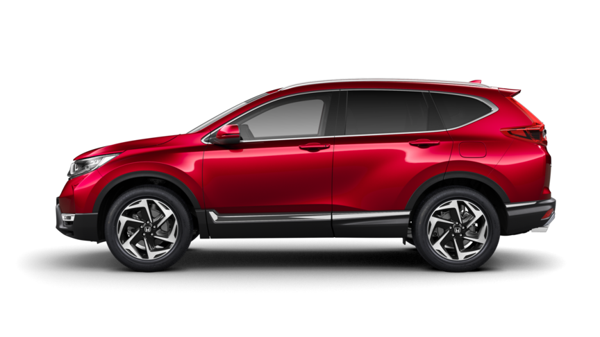Seitenansicht des Honda CR-V in Premium Crystal Red Metallic.