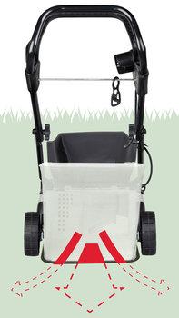 Honda HRE-Rasenmäher, Darstellung des Grasfangsacks, Rückansicht.