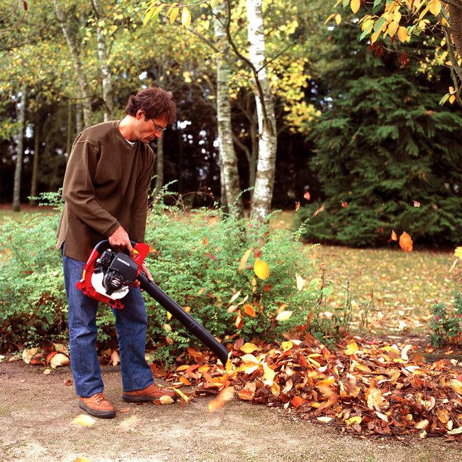 Laubbläser, Verwendung nach Modell, Gartenumgebung.