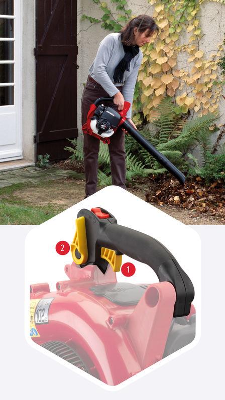Oben: Laubbläser, Verwendung nach Modell, Gartenumgebung. Unten: Nahaufnahme des Laubbläsers, Gashebel und Geschwindigkeitsregelungshebel stehen im Vordergrund.