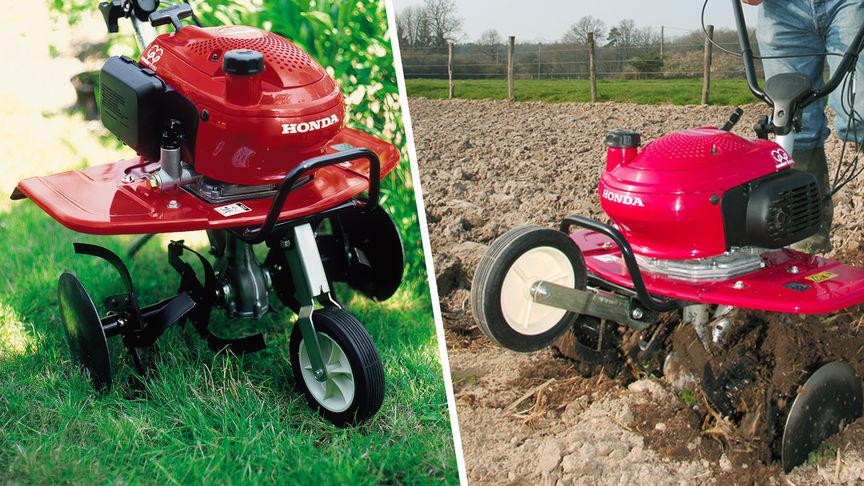 Links: Mini-Motorhacke, Gartenumgebung. Rechts: Mini-Motorhacke im Einsatz, Gartenumgebung.