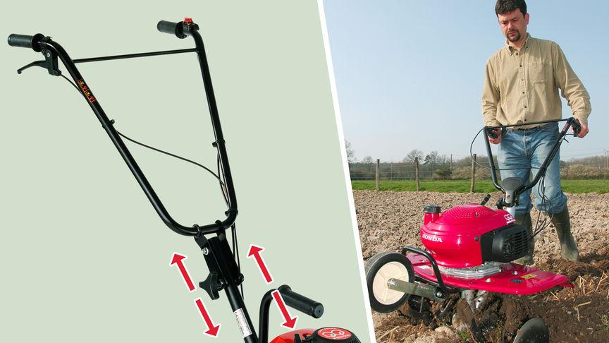 Links: Mini-Motorhacke mit Fokus auf dem höhenverstellbaren Griff. Rechts: Mini-Motorhacke im Einsatz, Gartenumgebung.