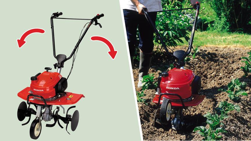 Links: Mini-Motorhacken mit Fokus auf dem Lenkholm. Rechts: Mini-Motorhacke, Gartenumgebung.