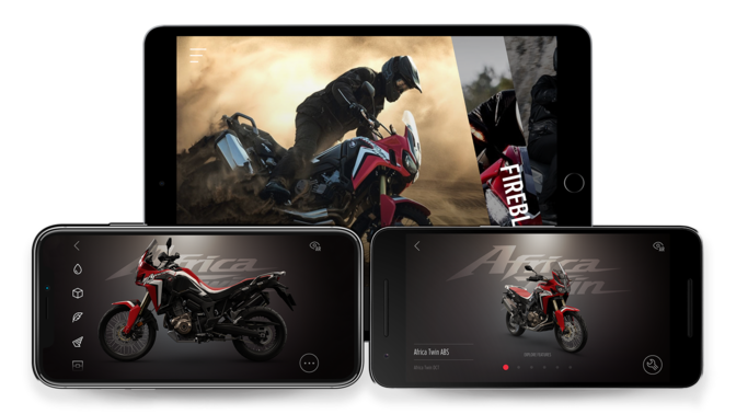 3 Screenshots der Africa Twin-App.