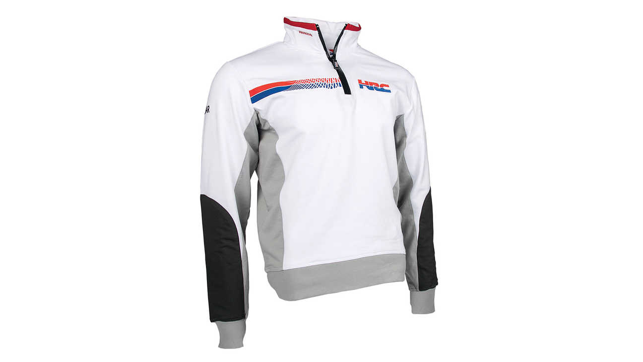 Weißes Honda HRC Sweatshirt in Teamfarben mit Honda Racing Corporation Logo.
