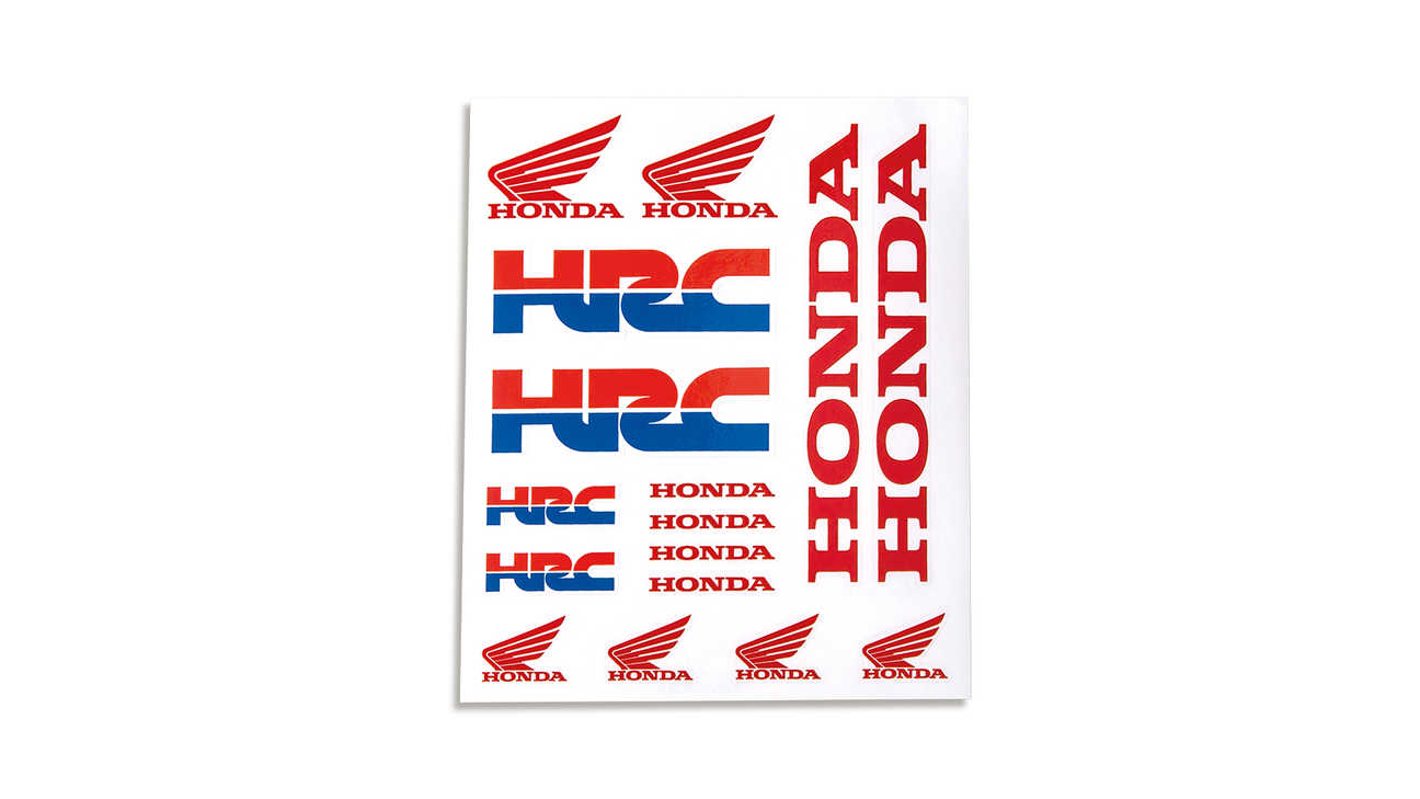 Honda HRC Sticker-Set aus Vinyl in Honda Racing Corporation Rennteam-Farben mit Honda Schwingen-Logo.