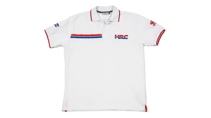 Weißes Polo-Shirt mit Honda Racing Corporation Logo