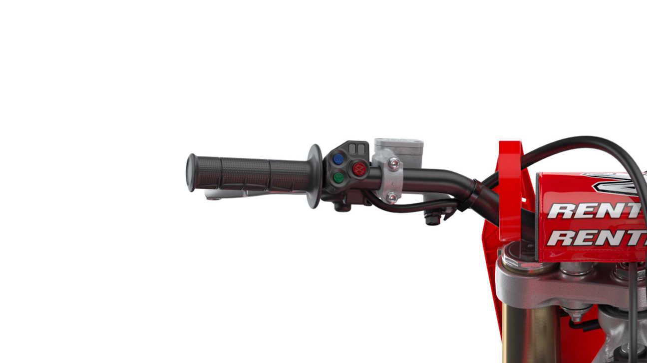 CRF450R, Nahaufnahme des Lenkers und der HSTC-Traktionskontrolle (Honda Selectable Torque Control)