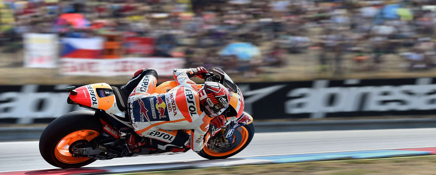 Side facing Honda Fireblade in the MotoGP race.