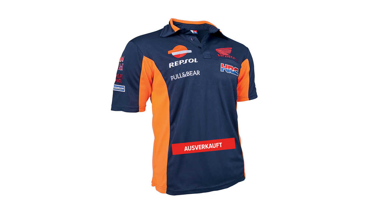 Blaues Honda Repsol T-Shirt mit Honda Racing Corporation Logo.